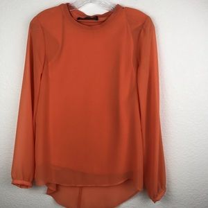 Zara Woman SZ XS Blouse Long Sleeve Orange NWOT